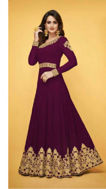 Purple Embroidery Gown
